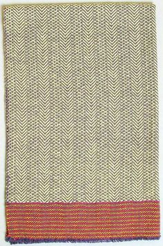 handwoven herringbone towel yellow with hot pink door metroweaving