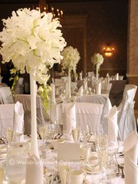 White Oriental Lilies In An Elegant And Silver Wedding Setup
