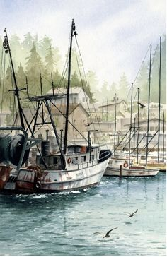 Art Watercolor, Watercolor Landscape Paintings, Boat Painting, Painting Art, Boat Art, Nautical Art, Fish Art, Fishing Boats, Art Pictures