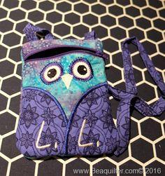 machine embroidered owl bag