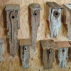 Stunning Bird Houses - A collection of beautiful Birdhouses repurposed wood clock Bird House Plans, Bird House Kits, Bird House Feeder, Rustic Bird Feeders, Unique Bird Feeders, Bird Houses Diy, Building Bird Houses, Homemade Bird Houses, Tree Houses