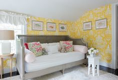 Brittany Bromley Interiors - David Hicks The Vase Wallpaper complements a gray French daybed accented with pink stripe bolster pillows and placed on a white wool rug beneath framed fish art. Grey Herringbone Wallpaper, Striped Wallpaper, Yellow And Gray Bedding, Yellow Curtains, French Daybed, White Daybed, Built In Bunks, Cool Kids Bedrooms, Black Headboard