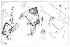 Diversos esboços   Planta da habitação principal (1951) Fonte: Livro CODERCH CASA UGALDE HOUSE