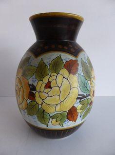 VASE WITH FLOWERS BFK BOCH FRERES KERAMIS LA LOUVIERE BELGIUM STAMP NUMBER D2343 | eBay