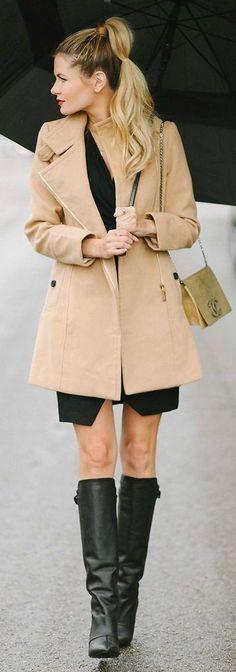 Sheinside Camel Classy Coat by Barefoot Blonde