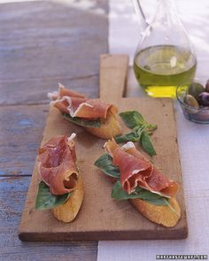 Prosciutto-Basil Crostini - I think I'll add roasted red peppers and goat cheese as well.