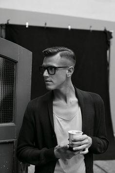 the huurrr cut + cardigan + scoop neck tee+ coffee = today's man