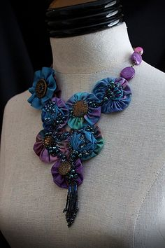 AZUREE Textile Mixed Media Teal Blue Purple Statement Necklace - what a great way to use yoyo's