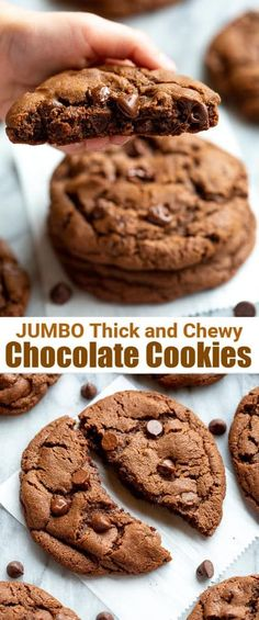 Huge thick and chewy cookies are all the rage right now and these double Chocolate Cookies fit the bill as the BEST chocolate cookies ever! Chewy Chocolate Cookies, Chocolate Cookie Recipes, Easy Cookie Recipes, Easy Desserts, Delicious Desserts, Dessert Recipes, Crumble Cookie Recipe, Gourmet Cookies, Food Stamps