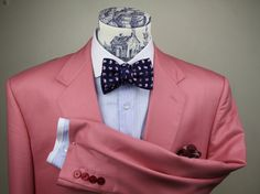 Le Noeud Papillon pink herringbone jacket, canclini 2013 new fabric range and a bow tie from our new silks