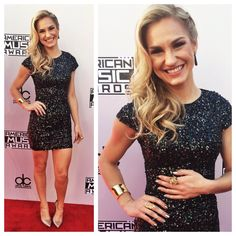 Chelsea Briggs wearing M.C.L by Matthew Campbell Laurenza Slender Drop Earrings at the 2014 American Music Awards at Nokia Theatre L.A. Live on November 23, 2014 in Los Angeles, California.