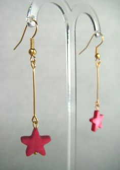 Cerise Mother of Pearl Star Drop Earrings - £5.50 at http://jewellerybyrebecca.co.uk/mpe002