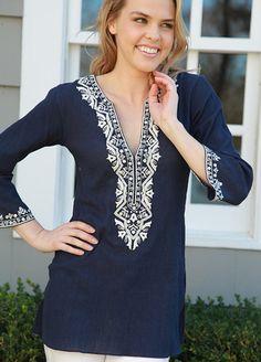 blue with white Indian Tops, Cotton Tunics, Hijab Outfit, Churidar, Kurtis, Cute Tops, Kaftan, Capsule Wardrobe, Bohemian Style