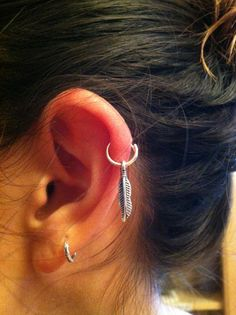 Feather on Hoop Earring by AichyCreations on Etsy, $16.00