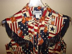 BANJO Western Rockabilly Fringed button Front Shirt Women's SZ: L American Flag #Banjo #Western