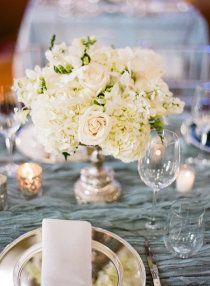 White flower centerpiece.