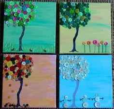Button trees for each season - this would be a fun classroom art project. Now, to find a large quantity of the right colors for relatively cheap...