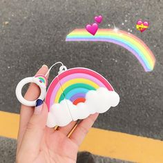 Rainbow Airpods Case For Iphone Fone Apple, Apple Airpods 2, Cute Phone Cases, Iphone Phone Cases, Iphone Headphones, Cute Rainbow Unicorn, Letter Case, Xmax, Earphone Case