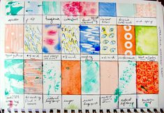 Watercolour technique sheet - challenge students to come up with as many as they can