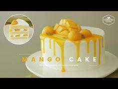 생 망고를 올린✨ 망고 생크림 케이크 만들기 : Mango cake Recipe - Cooking tree 쿠킹트리*Cooking ASMR - YouTube Mango Mousse Cake, Mango Cheesecake, Mango Cake, Mango Chiffon Cake Recipe, Sweet Recipes, Cake Recipes, Dessert Recipes, Food Cakes, Recipes