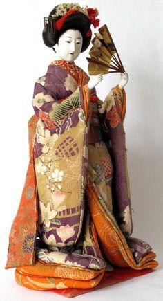 Antique Japanese Meiji Kyoto Costume Kimono Maiko Doll, Isho Ningyo