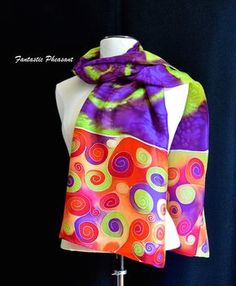 Hand painted silk scarf vibrant swirls in by FantasticPheasant