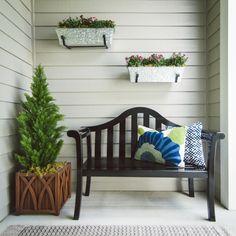 Achla Designs Black Camelback Bench, As Shown Small Front Porches, Farmhouse Front Porches, Rustic Farmhouse, Front Door Porch, Front Door Decor, Front Porch Bench Ideas, Front Entry, Patio Design, House Design