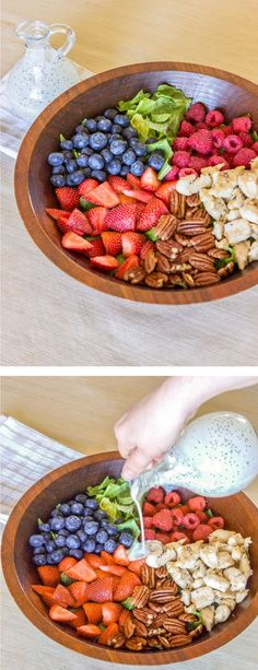 Very Berry Chicken Salad with Poppy Seed Dressing via Thewholesomedish.