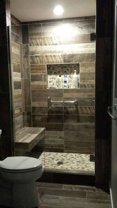Kennewick, WA Bathroom Remodel Custom walk-in shower with wood plank look tile walls and natural stone floor. by natalie-w Walk In Shower Bath, Small Bathroom With Shower, Shower Seat, Modern Bathroom, Small Bathrooms, Simple Bathroom, Parisian Bathroom, Small Tub, Bathroom Showers