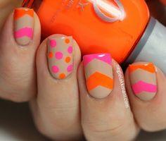 Neon + Nude chevron and spots nail design