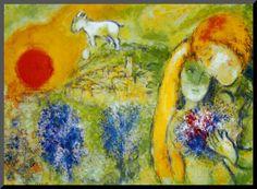 Verliefd op Vence Kunstdruk geperst op hout van Marc Chagall bij AllPosters.nl