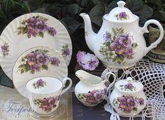 Heirloom English Pansy Bone China Tea Set