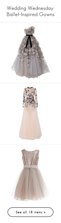 """Wedding Wednesday: Ballet-Inspired Gowns"" by polyvore-editorial ❤ liked on Polyvore featuring weddingwednesday, dresses, gowns, marchesa, grey, rose gown, tulle ball gown, grey gown, gray dress and tulle dress"