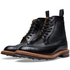 END. x Tricker's Two Tone Long Wing Brogue Boot (Black Zug Grain)