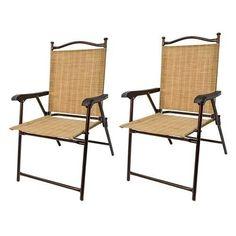 Sling Back Outdoor Chairs Set 2 Home Patio Fashion Greendale Folding Furniture  #GreendaleHomeFashions