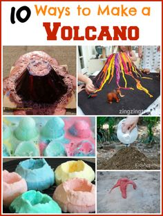 Add baking soda, vinegar, and food coloring into a container and you& have a classic science activity. Check out these 10 Ways to Make a Volcano! Preschool Science, Science Experiments Kids, Science Fair, Science Lessons, Teaching Science, Science For Kids, Science Activities, Activities For Kids, Kids Volcano Experiment