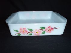 "Pyrex Fire King Peach Blossom 8"" Square oven dish Gay Fad FREE SHIP  $28 OBO"