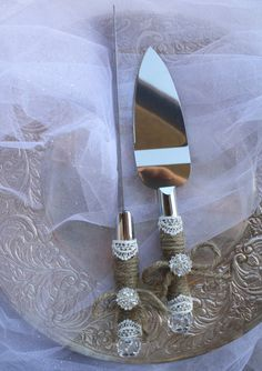 Wedding Cake Server And Knife Set - Country Rustic Chic Wedding -Cake Server Set - Jute and Lace Caker Server Set on Etsy, $29.95