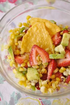 Roasted Corn, Strawberry and Avocado Salad - at Your Home-Based Mom.  Thanks for sharing!