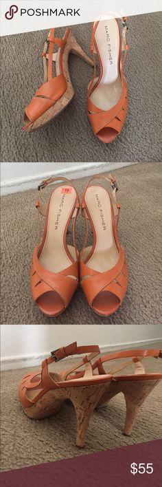 """🎉SALE🎉 Marc Fisher Sling-Back Orange Heels Marc Fisher Sling-Back Burnt Orange Heels   Size 10. Heel height: 4""""   Cork bottom. Brand new- Never worn. I do not have original box! Marc Fisher Shoes Heels"""