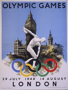 historyoftheisles:  The 1948 London Olympic poster is simple and iconic. The classic Greek Discobolus statue standing in front of the iconically British Houses of Parliament make up the poster. It is simple and straightforward and the style is still closely connected to the propaganda posters put out during World War II. Due to the short time frame of planning for the 1948 Olympics no type of design contest was held, which could have been a reason for the simple design. 100,000 of these…