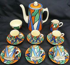 Clarice Cliff Art Deco Double V design Coffee Set  C1930