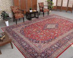 "Floral Rug Oushak Vintage Oriental Rug 8'10"" x 12'6"" , Code: 062516 large rug Living Room Carpet, Rugs In Living Room, Persian Rug, Persian Carpet, Geometric Rug, Floral Rug, Red Rugs, Rugs Online, Rugs On Carpet"