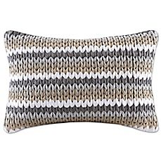 image of Madison Park Stripe Woven 14-Inch x 20-Inch Decorative Pillow