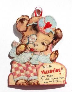 Vintage Valentine Card Ornament~Glittered Wooden  Decoration~Dog with Glass