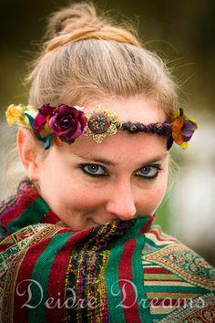 Tribal Fusion Woodland Fairy Art Yarn Flower Crown by DeidreDreams, $75.00