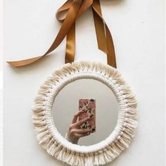 Albums # Twine # rope # cord # for # macrame - Spiegel Diy Macrame Wall Hanging, Macrame Mirror, Diy Mirror, Macrame Bag, Rope Crafts, Diy And Crafts, Yarn Crafts, Macrame Design, Macrame Projects