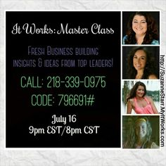 What is #ItWorks?!  Listen to this recording of Master Class Part 6 with top Leaders who rock their #ItWorksGlobal businesses to find out (http://yourlisten.com/wrapdallas/it-works-master-class-6).  Take some notes and call me afterwards so I can answer your questions about how you can make full-time income on a part-time basis!   Suzanne 732-207-6819  http://SuzanneStarr.MyItWorks.com #wraps #debtfree #itworksincome #HireYourself #FireYourBoss #BetterTogether #Teamwork #InvestInYourself…