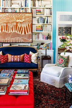 Anna Spiro, Blue Rooms, Room Interior Design, Decorating Small Spaces, Eclectic Decor, Beautiful Interiors, Room Inspiration, Kara Rosenlund, Living Room Decor