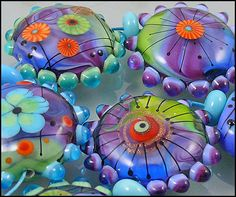 Michou Anderson Lampwork Beads  shades of purple by michoudesign, $229.00
